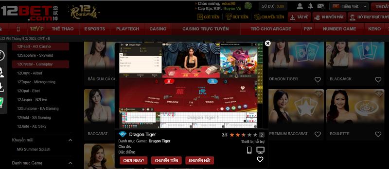 Hướng dẫn cách chơi Rồng Hổ online cho newbie tại 12bet